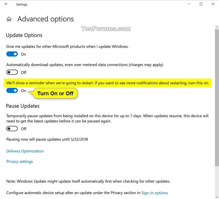 Turn On or Off Windows Update Restart Notifications in