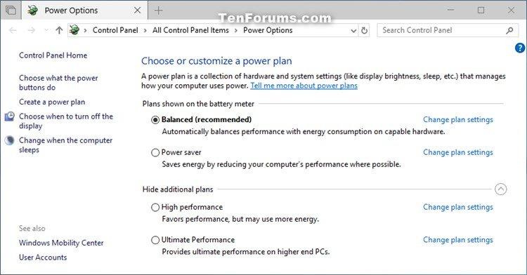 Restore Missing Default Power Plans in Windows 10 | Tutorials