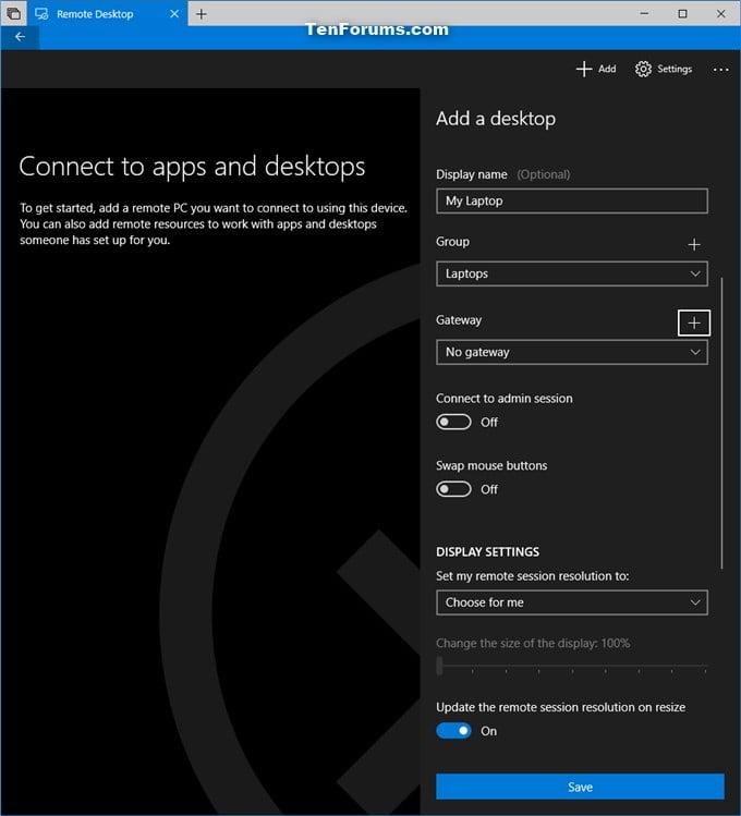 Add Remote Desktop Connection in Remote Desktop app on