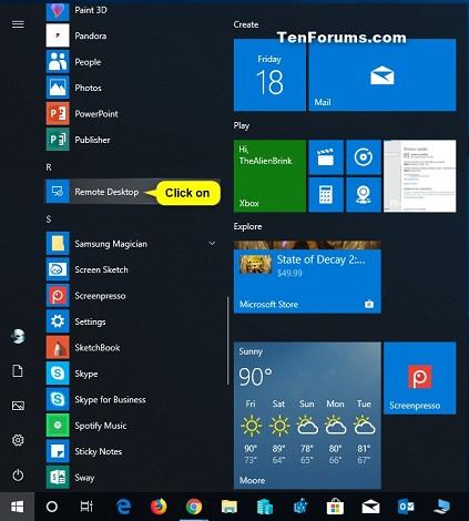 Add Remote Desktop Connection in Remote Desktop app on Windows 10 PC-remote_desktop_app_in_start_menu_all_apps.jpg