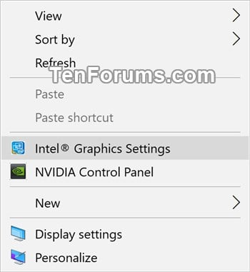 Remove Intel HD Graphics desktop context menu in Windows