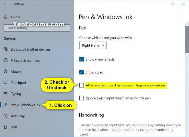 Turn On or Off Allow Pen to Act as a Mouse in Windows 10