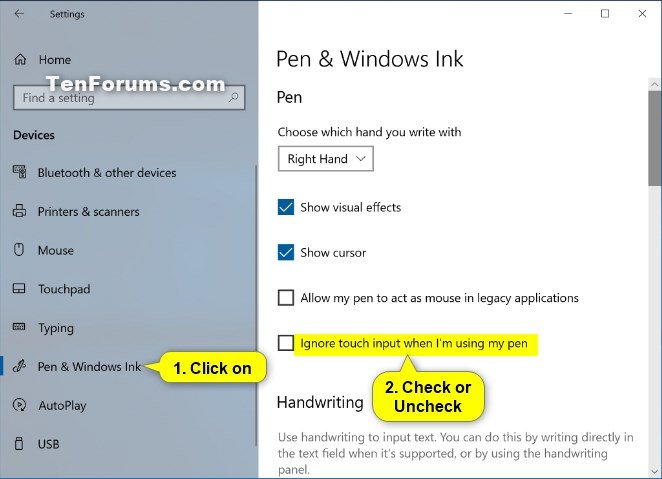 Turn On or Off Ignore Touch Input when using Pen in Windows