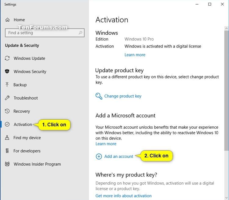 microsoft windows key account