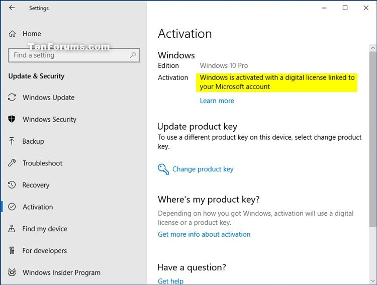 product key for windows 10 activation