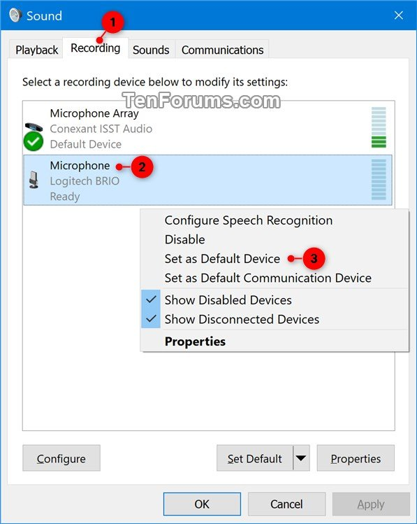 Change Default Sound Input Device in Windows 10 | Tutorials
