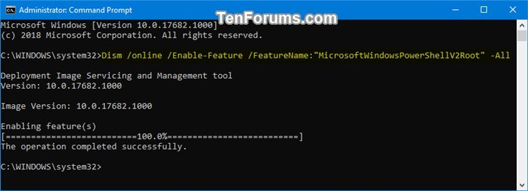 Enable or Disable Windows PowerShell 2 0 in Windows 10