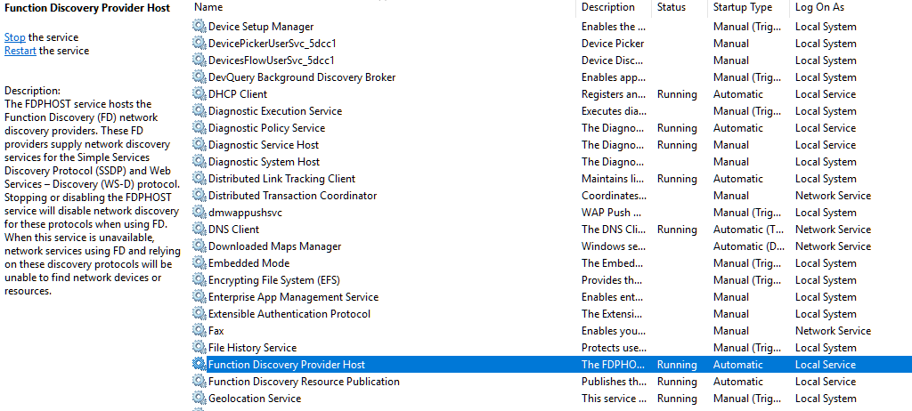 how to disable network discovery windows 10