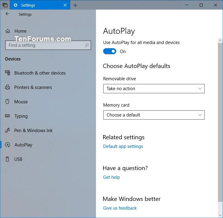 Reset AutoPlay Settings to Default in Windows 10 | Tutorials
