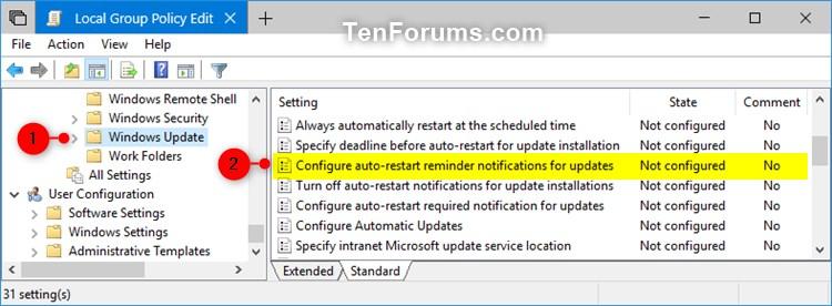 how to stop windows 10 auto update restart
