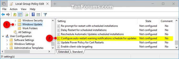 Configure Auto-restart Warning Notifications for Updates in