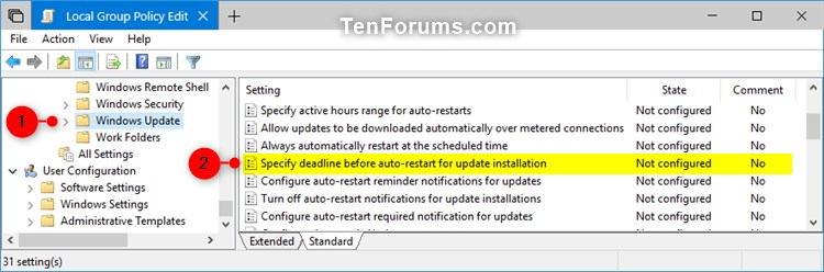 change windows 10 update group policy