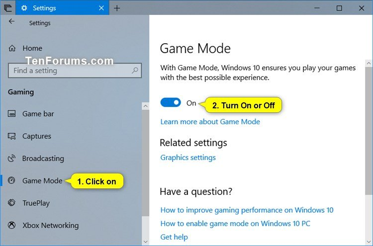 Turn On or Off Game Mode in Windows 10 | Tutorials