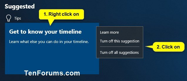 Turn On or Off Timeline Suggestions in Windows 10 | Tutorials