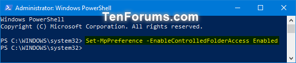 Name:  Turn_ON_Controlled_folder_access_PowerShell.png Views: 5187 Size:  17.0 KB