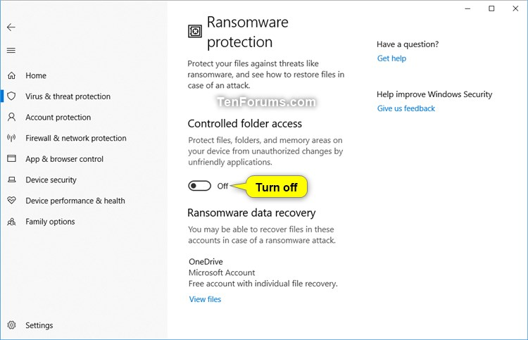 How to Enable or Disable Controlled Folder Access in Windows 10-windows_defender_controlled_folder_access-3.jpg