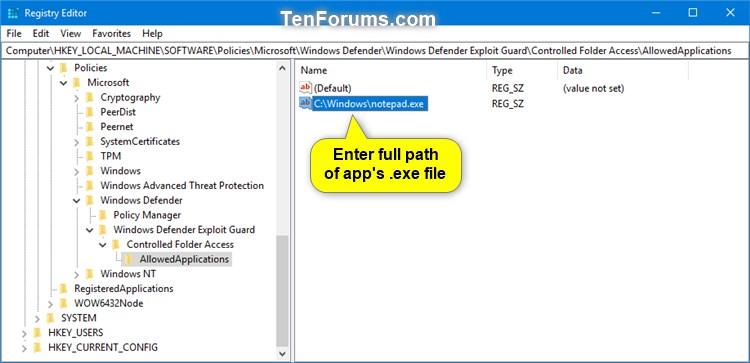Name:  Windows_Defender_Controlled_folder_access_allowed_app_regedit-2.jpg Views: 530 Size:  53.7 KB