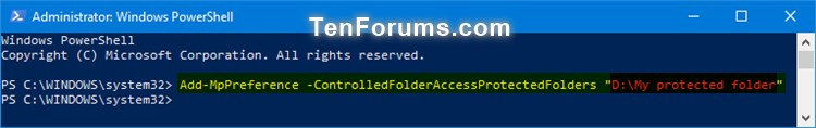 Add Protected Folders to Controlled Folder Access in Windows 10-windows_defender_controlled_folder_access_protected_folders_powershell-1.jpg