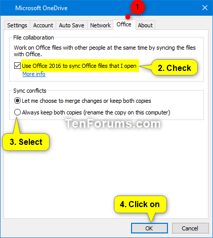 Turn On or Off Sync Office 2016 Files with OneDrive in