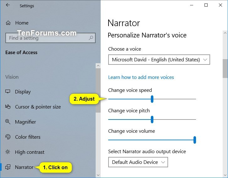Customize Narrator Voice in Windows 10 | Tutorials