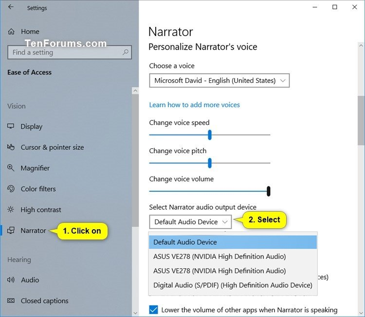 Select Audio Channel for Narrator Speech Output in Windows