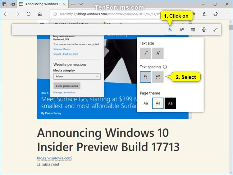 Change Text Spacing in Microsoft Edge Reading View in