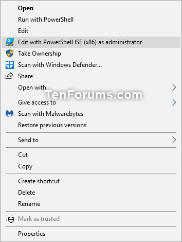 Add Edit with PowerShell ISE x86 as administrator in Windows