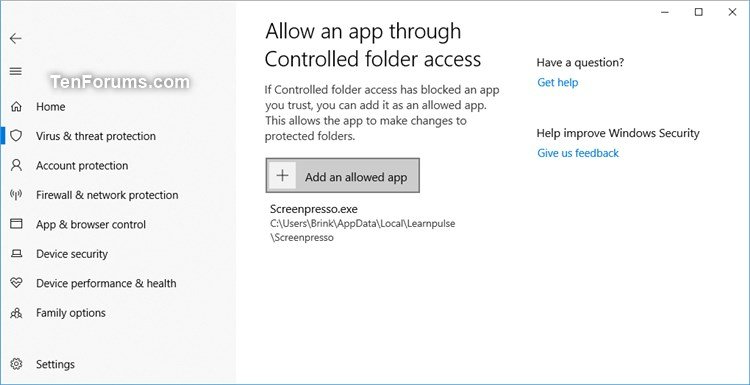 Add Allow App through Controlled Folder Access context menu Windows 10-windows_security_controlled_folder_access.jpg