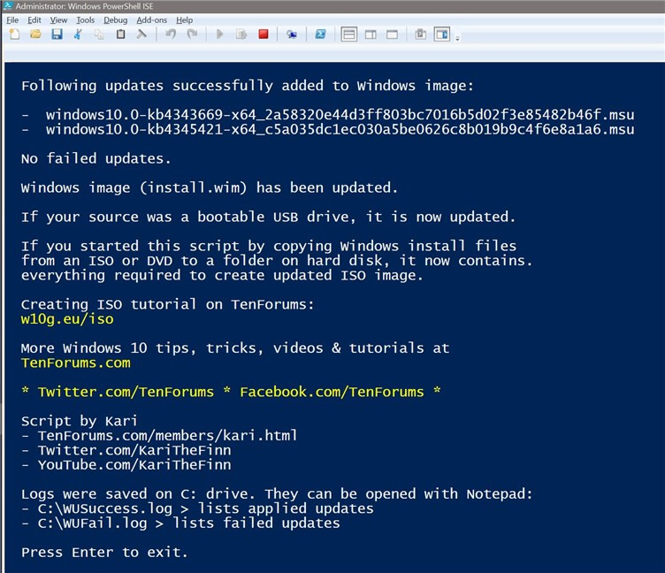 PowerShell Scripting - Update Windows 10 USB install media