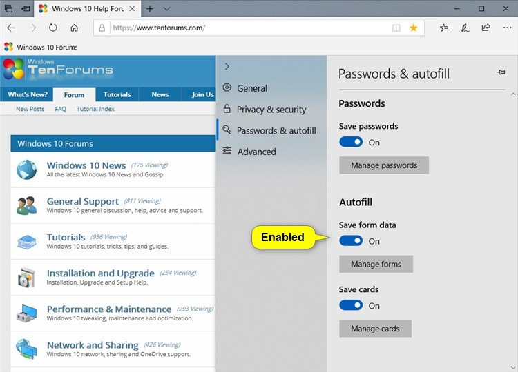Enable or Disable Autofill in Microsoft Edge in Windows 10