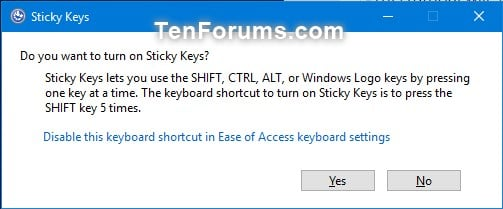 Turn On or Off Sticky Keys in Windows 10 | Tutorials