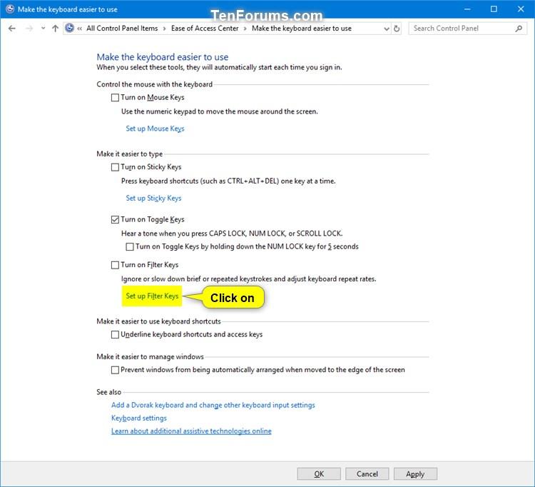 Turn On or Off Filter Keys in Windows 10   Tutorials