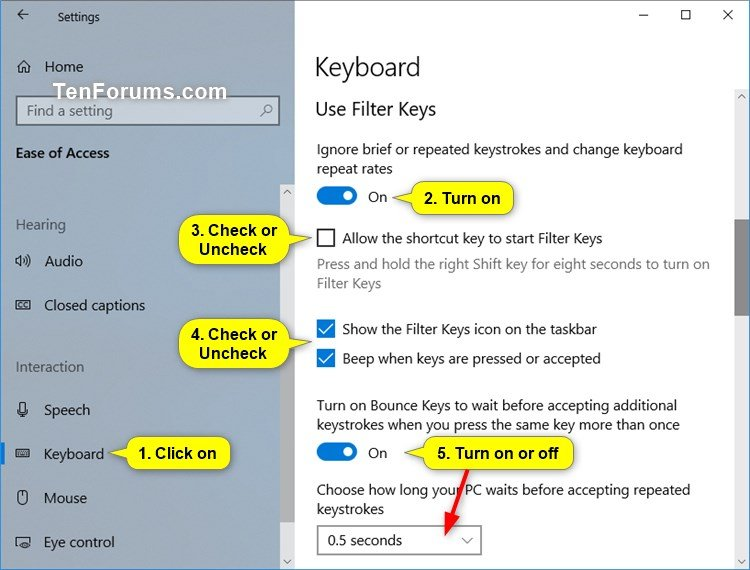 Turn On or Off Filter Keys in Windows 10 | Tutorials