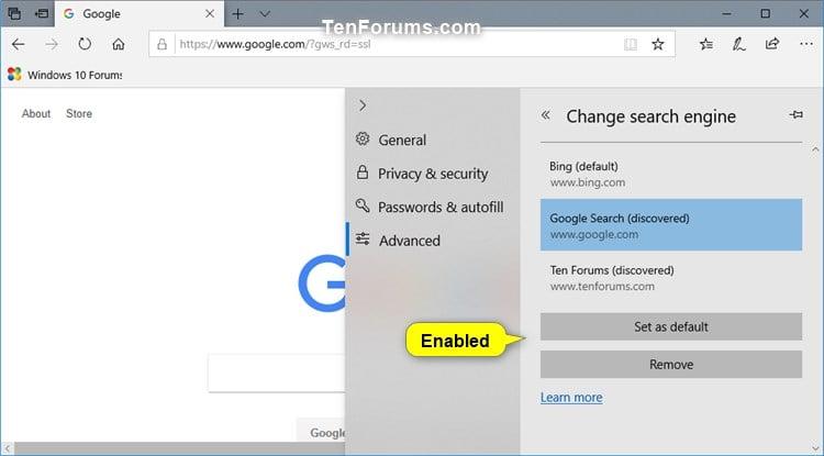 change bing default to google