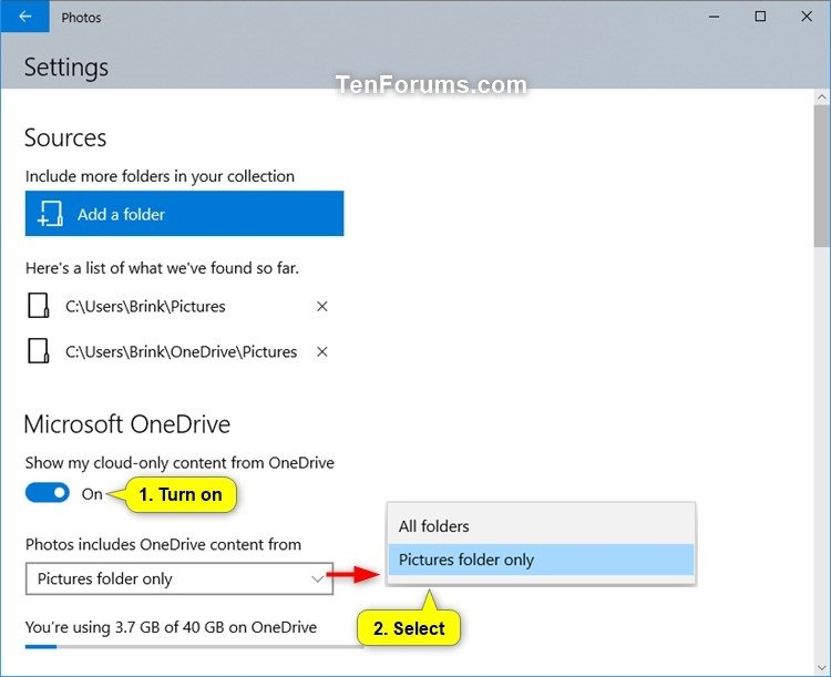 Turn On or Off OneDrive Cloud-only Content in Windows 10 Photos app