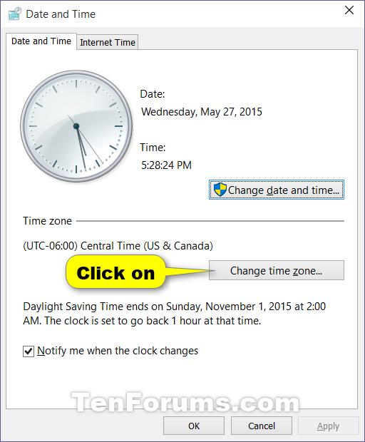 Change Time Zone in Windows 10 | Tutorials