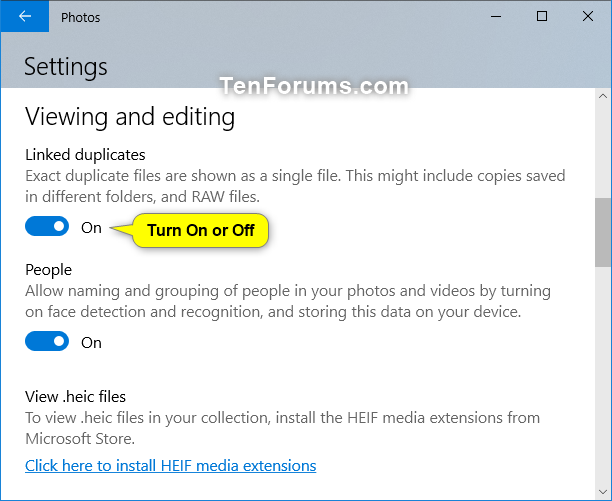 Turn On or Off Linked Duplicates in Windows 10 Photos app | Tutorials