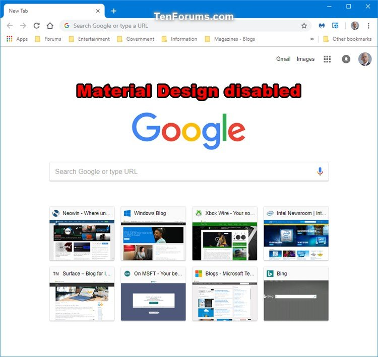 Enable or Disable New Tab Page Material Design UI in Google
