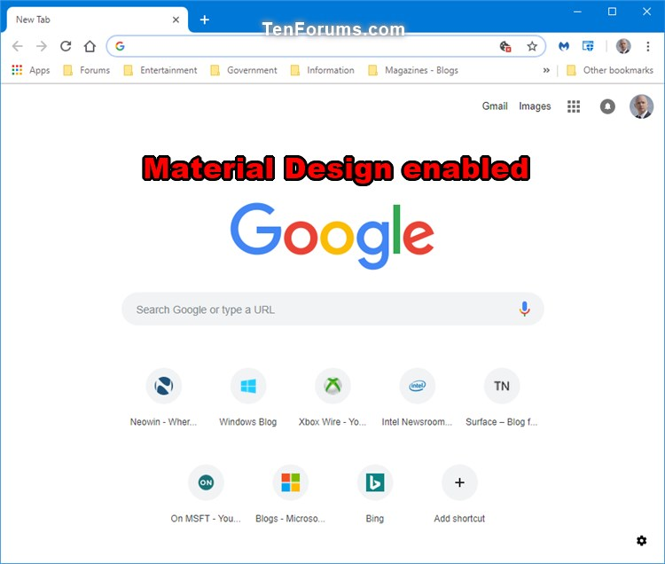 Enable or Disable New Tab Page Material Design UI in Google Chrome-chrome_new_tab_page_material_design_enabled.jpg