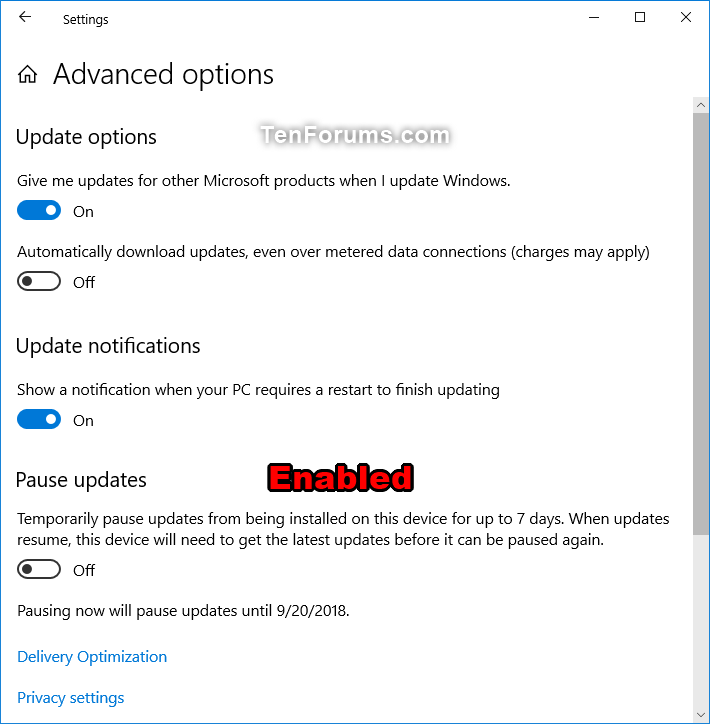 Enable or Disable Pause Updates Feature in Windows 10
