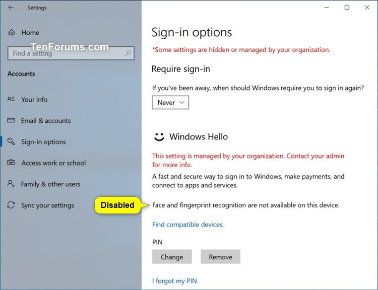 Enable or Disable Windows Hello Biometrics in Windows 10 | Tutorials