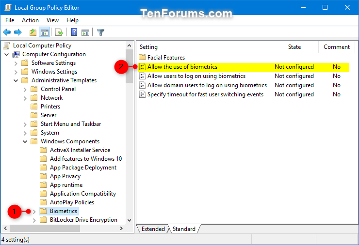 Enable or Disable Windows Hello Biometrics in Windows 10   Tutorials