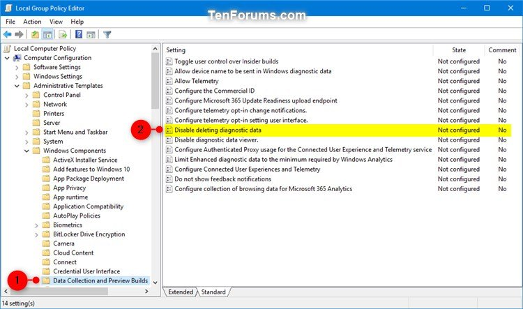 Enable or Disable Delete Diagnostic Data in Windows 10 | Tutorials