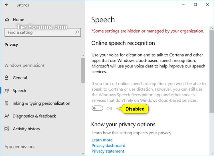 Enable or Disable Online Speech Recognition in Windows 10