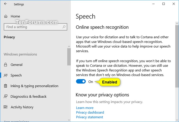 Enable or Disable Online Speech Recognition in Windows 10 | Tutorials