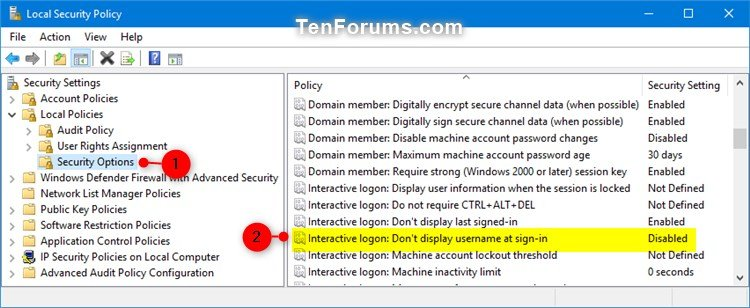 Enable or Disable Don't Display Username at Sign-in in Windows 10