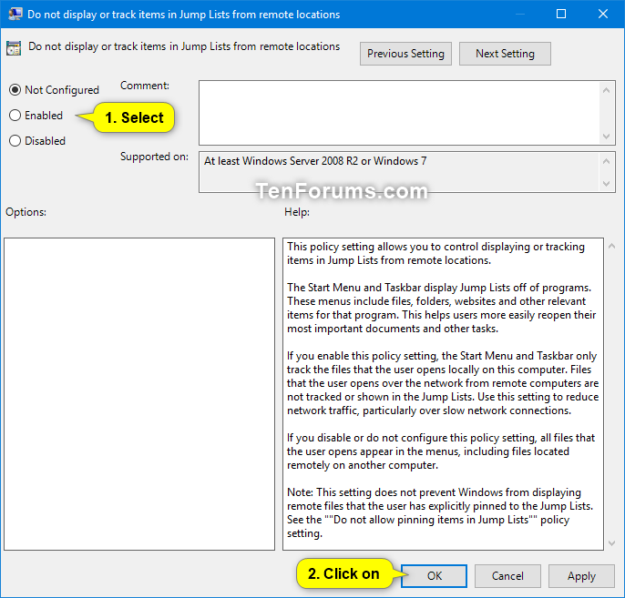 Enable or Disable Showing Remote Locations in Jump Lists in Windows