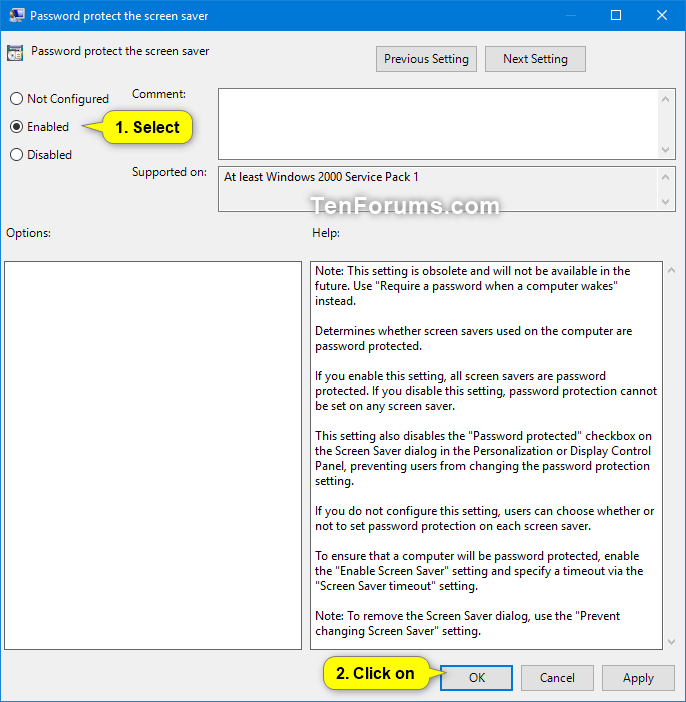 windows 10 disable screensaver group policy