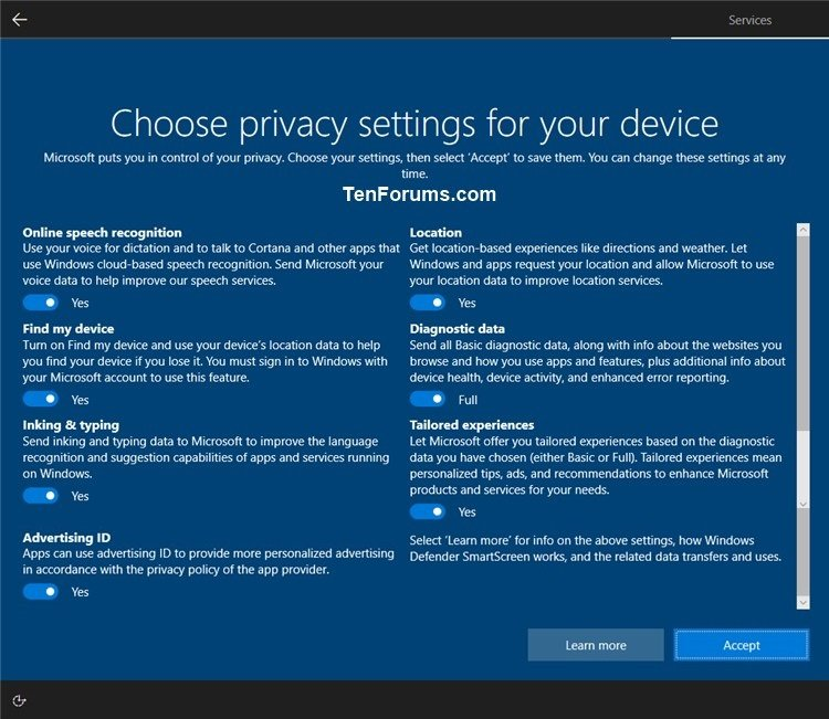 Enable or Disable Privacy Settings Experience at Sign-in in Windows