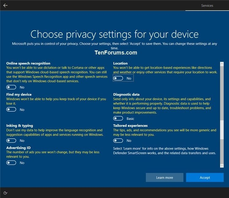 Enable or Disable Privacy Settings Experience at Sign-in in
